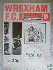 1980/81 WREXHAM v WEST HAM UNITED, 6th Jan (FA Cup 3rd RD REPLAY)