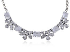 New Silver Geometric Clear Rhinestone Necklace Simple Collar Pendant Necklace