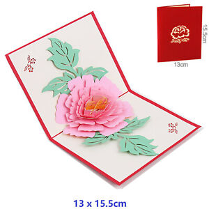 3D Pop up Greeting Card Best Wishes Thank You Mom Paper peony Postcard - Pink