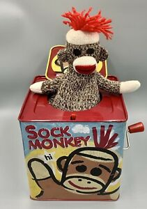2008 Schylling Sock Monkey & You Jack in the Box - Pop Goes The Weasel - Tin Toy