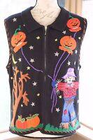 Designers Studio Size Medium Halloween Black Sweater Full Zip Vest Scarecrow BM