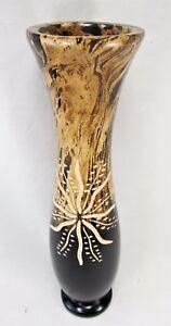 Vase Hand Carved & Etched Mango Wood Sun Motif Design
