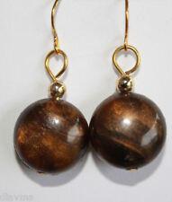 unique retro vintage bead chocolate brown EARRINGS Jewellery