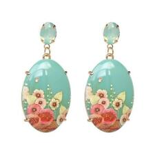CG3474...AQUA BLUE FLORAL DESIGN RESIN EARRINGS - FREE UK P&P