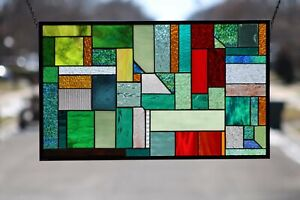 """👀Geometric Multi-Colored Stained Glass Window Panel-Hanging  27 3/4"""" x 16 3/4"""""""