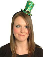 Ladies St Patricks Leprechaun Headband With Green Shamrock Mini Top Hat Bopper