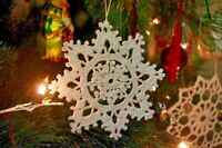 Handmade crochet Christmas tree baubles Christmas ornaments 1set of 10 Snowflake