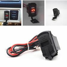 Car Red LCD Marine Boat Voltage Voltmeter 2USB Port Charger Switch Socket Jack