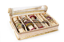 Indian Quilted Brocade Fabric Precious Bangle Jewellery Storage Box 5 Section