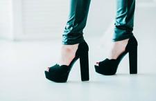 NEW Bamboo Dita Black Vegan Faux Suede Platform Block High Heels Shoes