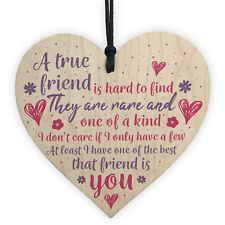 True Friend Friendship Sign Best Friend Plaque Gift Chic Wood Heart Thank You