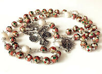 Pink Cloisonne & 10mm Pearl Beads Rosary Necklace Italy Parden Cross Catholic