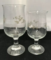 Pfaltzgraff Heirloom Glassware 2 Pc Set Glasses / Goblets Made In USA Watermark