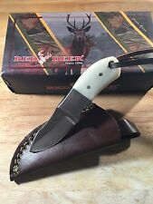 Custom Handmade Hunting Knife White Deer Bone Handle Brown Leather Sheath