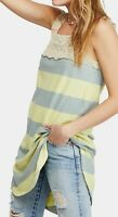 Free People Womens Tank Top Blue Size Medium M Crochet Striped Tunic $88- 544