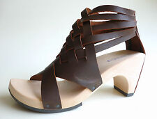 TRIPPEN Germany - Women's Wooden Leather Sandals THUNDER f brown EU37 US6 UK4