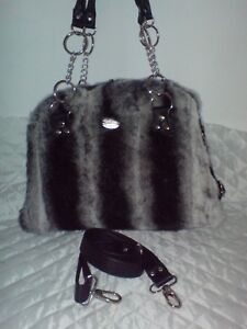 BAG-FROM-REAL-FUR-CHINCHILA-WITH-REAL-LEATHER-STRAP-AND-CHAIN FAST SHIPPING