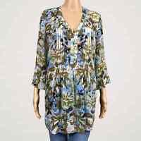 Soft Surroundings Sheer Fiona Floral Pintuck Popover Shirt Top MEDIUM Chiffon