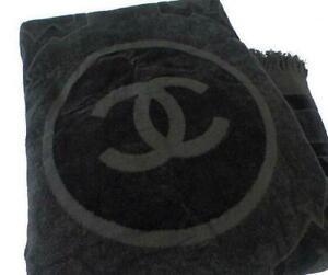 "CHANEL Large Beach Bath Towel Black Floor Mat Coco Cotton Sport Line New 76""x44"""