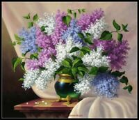Chart Needlework DIY - Counted Cross Stitch Patterns -  Lilacs in Green Vase