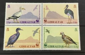 GIBRALTAR # 594a. BLOCK OF FOUR (WWF) BIRDS. MNH