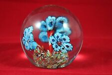 Vintage Glass Paperweight SDS Seapoot Label Flowers 3 1/2   DD