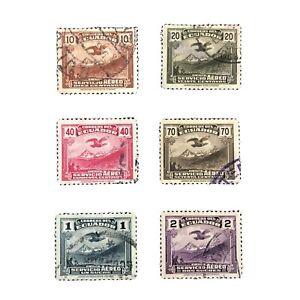 ECUADOR, SCOTT # C51-C56(6), COMPLETE SET AIR MAIL 1937-46 CONDOR ISSUE USED
