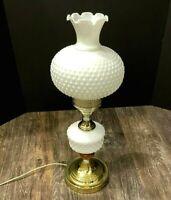"Vtg MCM Wood Gold Tone Lamp Ruffled Hobnail Milk Glass Hurricane Table 20"""