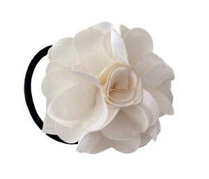 Henri Bendel White Flower Silk Hairtie Ponytail