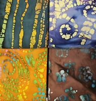 Batik Fat Quarter #B32 | Mask Fabric | Precut Quilting Cotton | Set of 4