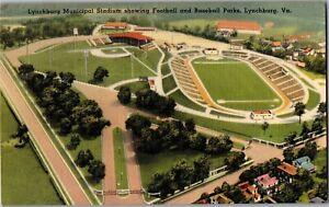 Lynchburg Municipal Stadium, Football Baseball Fields VA c1948 Vtg Postcard P08