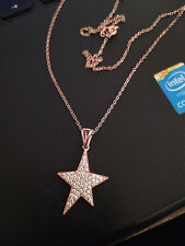 0.25cts Diamond Star Pendant Necklace With Chain 14k Rose Gold Finish