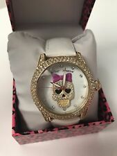 NWT Rare Betsey Johnson White Leather Skull Skeleton Watch stones jewels bow