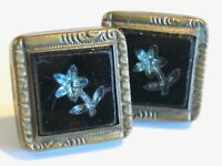 ANTIQUE VICTORIAN CUFFLINKS MOSAIC BLUE TOPAZ FLOWER IN BLACK GLASS BUCKLE BACKS