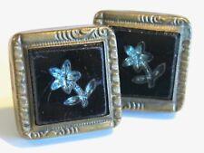 ANTIQUE VICTORIAN CUFFLINKS MOSAIC BLUE TOPAZ FLOWER IN BLACK GLASS BUCKLE BACKS