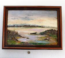 """Dipinto ad olio di una barca in paesaggio montano firmato incorniciato 16"""" x 12"""" Foto Art"""