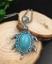 NEW Exquisite Tibet silver animal turtle inlay turquoise swing pendant necklace