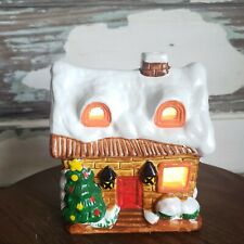 Vintage Flambro Lighted House Snow Covered Christmas Cottage Village Home