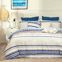 Cream Blue Quilt Cover Set Duvet Cover With Pillowcases Queen Bedding Set
