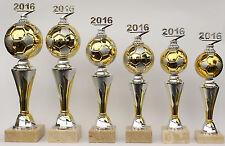 """6er-Serie Pokale Fußball """"on Fire"""" mit Jahreszahl 2018 oder 2019 inkl. Gravuren"""