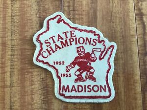 1952 & 1955 State of Wisconsin Hockey Champions Leather Patch