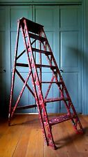 Antique Primitive Double Rail Wooden Ladder Paint Splattered Rustic Wood Shelf