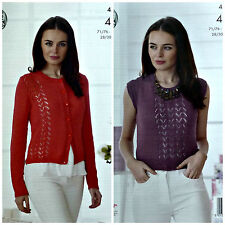KNITTING PATTERN Ladies Lace Cardigan & Sleeveless Top Cotton 4ply 4502
