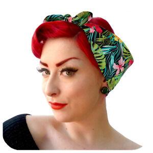 Tropical Bandana, Hawaiian Style Tiki Head Scarf, Vintage 50s Style Scarf