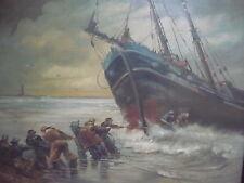 schönes, altes Gemälde__Einzug eines Segelschiffs__signiert_!