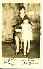 Mom & Little Girl-Stella-Purse-Studio Portrait-RPPC-Vintage Real Photo Postcard
