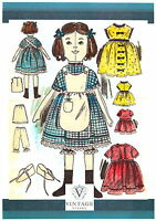 "Victorian Rag Doll & Clothes sewing patterns-Vintage style-2 sizes 16"" & 8"" tall"