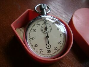 Stopwatch AGAT Soviet Russian USSR Stopwatch mechanical One Button NEW in CASE
