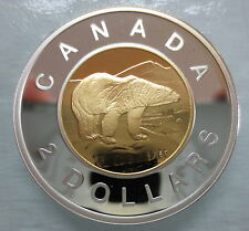2006 CANADA TOONIE PROOF SILVER WITH GOLD PLATE TWO DOLLAR COIN DOUBLE DATE
