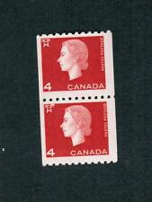 1962 TIMBRES CANADA COIL  STAMPS PAIR #  408 ** VFNH ELIZABETH II  CAMEO ISSUE